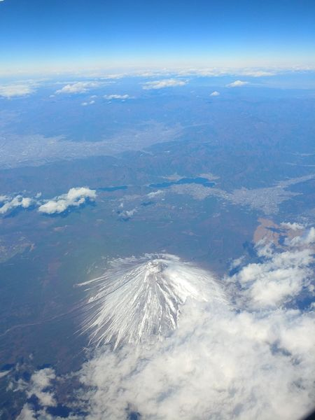 Mid-air No People Earth Aerial View Satellite View Japan Airplane View Flying ✈ Cloud - Sky Travel Destinations Scenic Photograghy Volcano Mountain Sky Planet Earth Above Backgrounds Nature Mountains Outdoors Scenic View Travel Clouds & Sky Journey