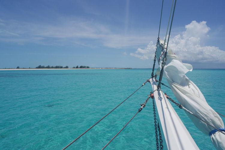 Ship sailing towards island