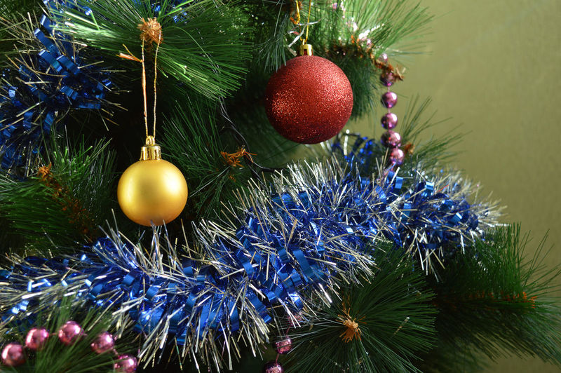 Decorated Christmas tree Backgrounds Bauble Beautiful Celebration Christmas Christmas Bauble Christmas Decoration Christmas Ornament Christmas Tree Close-up Day Hanging Holiday Light No People Outdoors Red Season  Shine Tradition Traditional Tree Winter
