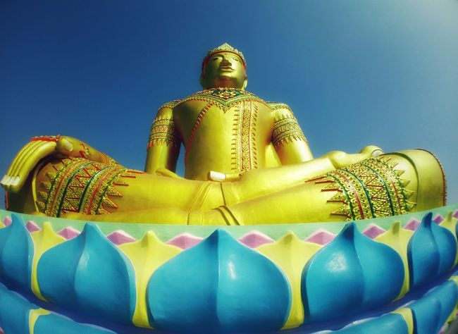Art of religion wish blue sky in Thailand Art Culture Low Angle View Thailandtravel Beauty In Large Culture Outdoor Religion Gold Colored Statue Spirituality Gold Blue Travel Destinations Beauty Sculpture Sky No People Architecture Close-up Day Golden Color Place Of Worship Clear Sky Male Likeness