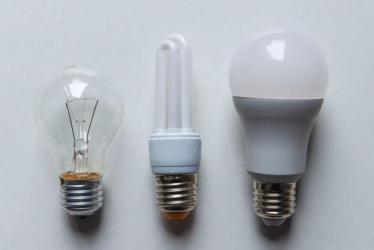 High angle view of light bulb on table