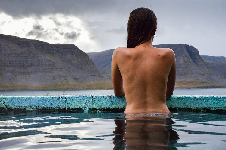 My love, Iceland Adult Back Day Human Back Nature One Person Outdoors People Rear View Relaxation Swimming Vacations Water