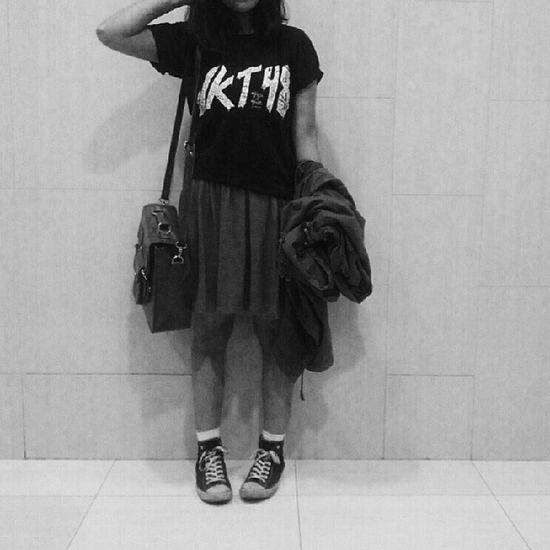 For your information, this isn't my shirt and yes.. I made a fool of myself by wearing it ? Jkt48