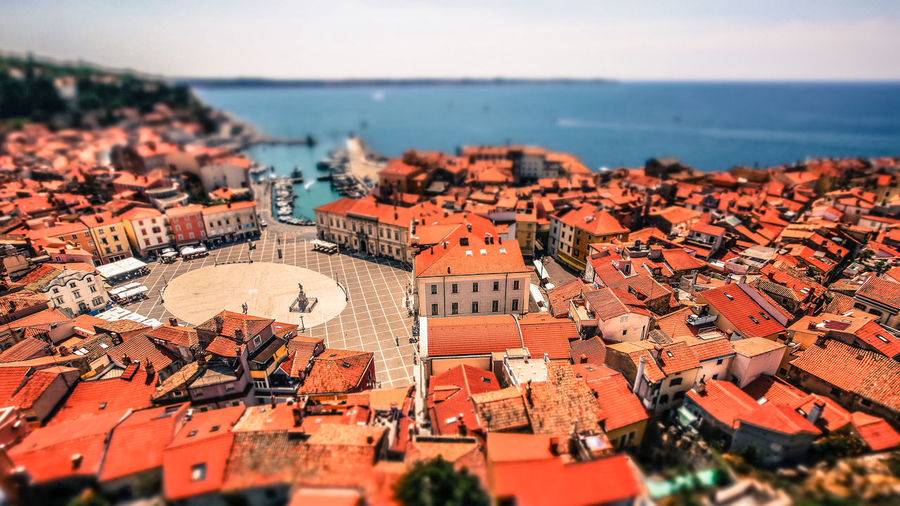 Architecture Building Exterior Built Structure City Cityscape Cityscape Day Outdoors People Piazza Tartini Roof Sky Tilt-shift Travel Destinations Urban Skyline