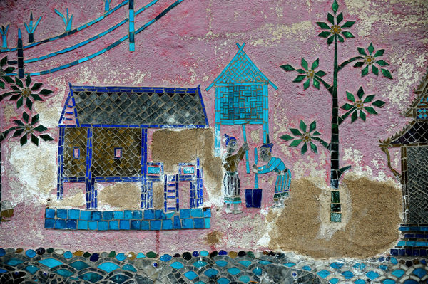Glass Art Luangprabang Building Exterior Close-up Glass - Material Laos, Lao Trip Multi Colored Temple Wall