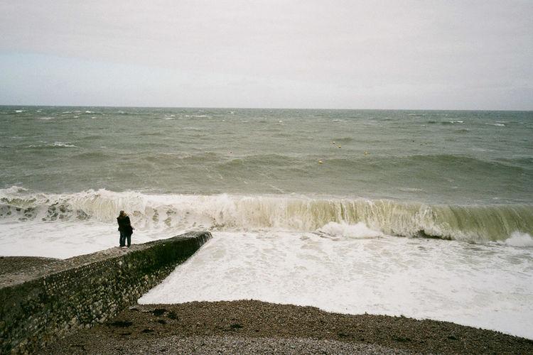 Film, France Hug Love Lovers Normandie Beach Horizon Over Water Outdoors People Sea Standing Water Wave first eyeem photo