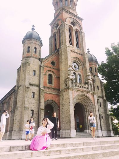 Korea Jeonju Jeondong Catholic Church Sky Nice Weather Korea Hanbok Beautiful Nature Pose :) # Trevel