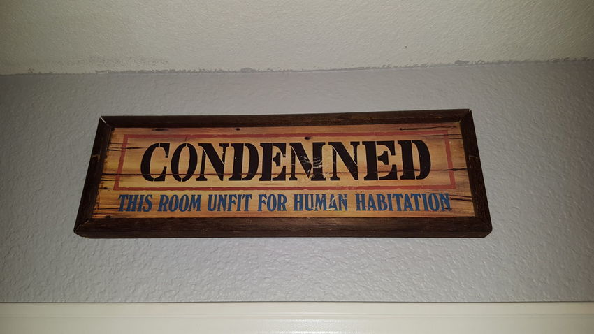 Sign MyRoom Decor Decoration Lazy Messy Life Messy Room Condemned Human Funny Ironic  Western Old Dusty