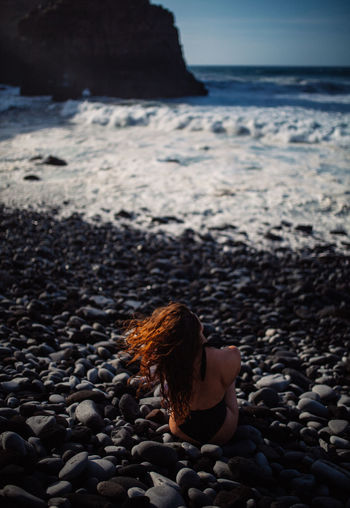 Swimwear - Tenerife Beach Beauty In Nature Day Gravel Hairstyle Horizon Horizon Over Water Land Nature One Person Outdoors Pebble Rock Rock - Object Sand Sea Sky Solid Stone Stone - Object Swimwear Tenerife Water Young Adult Young Women