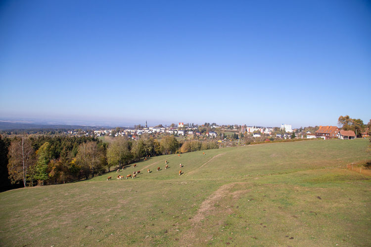 Panoramic shot of townscape against clear blue sky