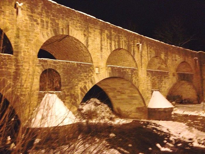 Architecture Bridge Light Nightphotography Snow Taubertal Old Medieval Medieval Architecture