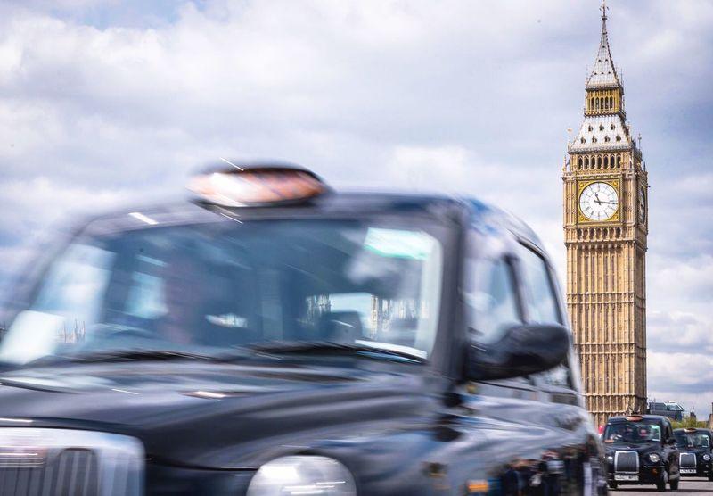 Busy bridge, Big Ben and London taxis EyeEm LOST IN London London Taxi Big Ben Busy Street Postcode Postcards