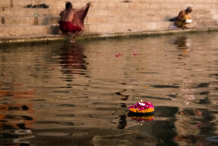 Early morning at the river Ganges in Varanasi, India ASIA Beauty In Nature Candle Cultural Heritage Culture And Tradition Day Floating On Water Ganges Hinduism India Motion Nature No People Outdoors Prayer Religion Ritual Riverside Sacred Places Spirituality Traditions Tranquility Washing Water Waterfront