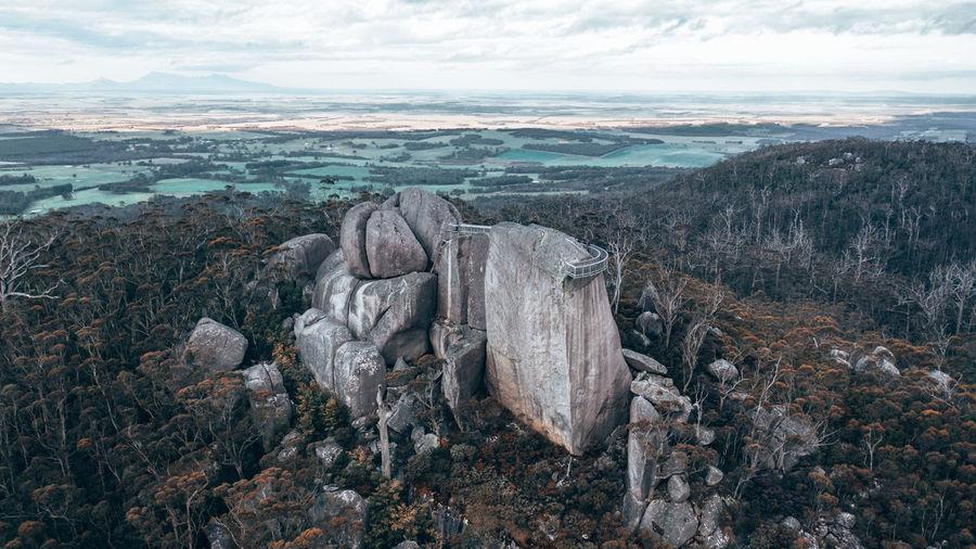 Aerial image of castle rock and its famousgranite skywalk in porongurup range, western australia