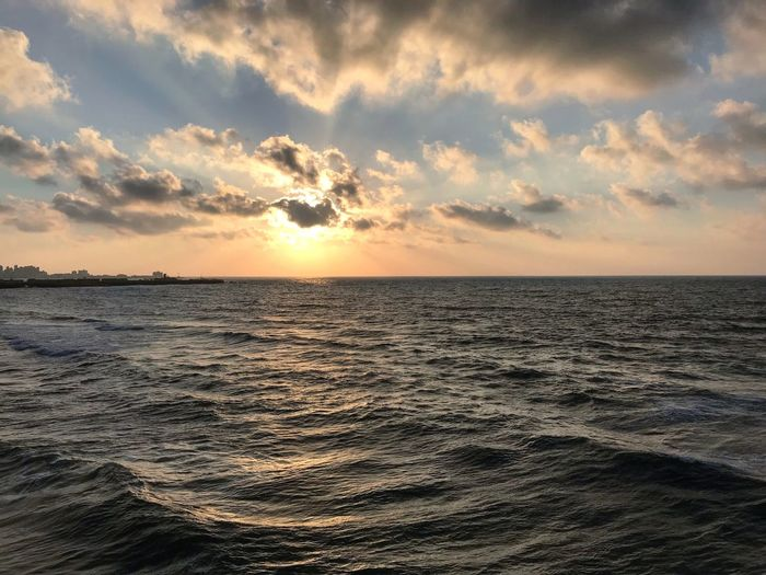 Sea Sky Water Sunset Beauty In Nature Scenics - Nature Horizon Horizon Over Water Cloud - Sky Tranquility Tranquil Scene Beach Nature No People Sunlight Outdoors Wave Orange Color