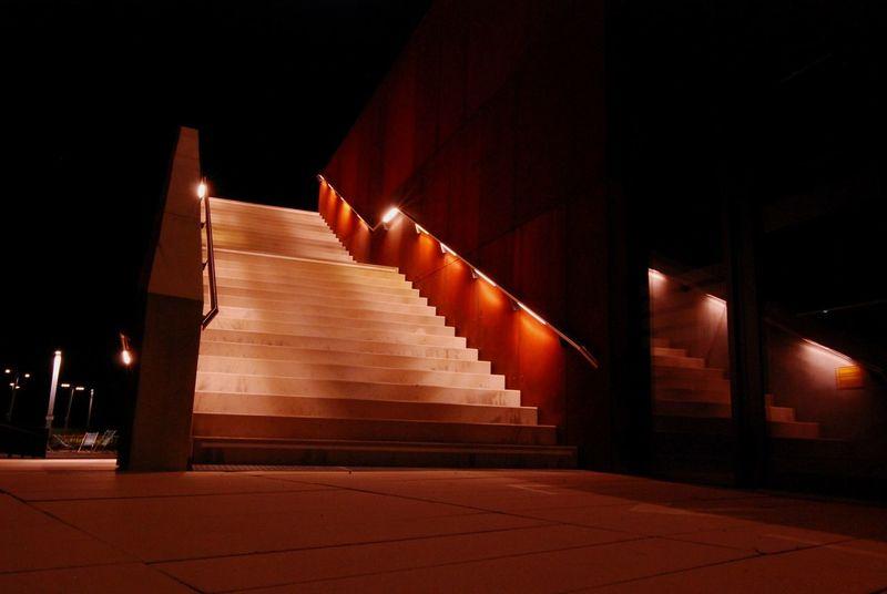 Staircase at WU Vienna, Austria Reflection Economics Vienna Austria Metal Rust Stairs Night Wirtschaftsuniversität Wien EyeEm Selects Night Illuminated No People Architecture Outdoors Politics And Government