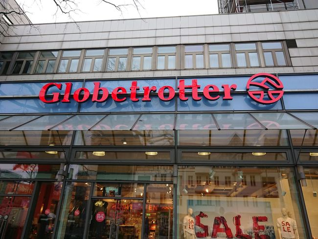 Berlin, Germany - January 23, 2018: Globetrotter outdoor adventure department German store Athletics Entrance Fashion Logo Architecture Brand Building Exterior Built Structure Close-up Editorial  Globetrotter No People Outdoor Outdoors Outside Sports Shop Sports Store Store Text