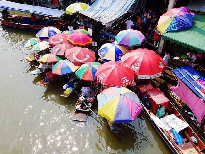River Market Market River Rivermarket Umbrella Colorful Old Town Riverside Water Multi Colored