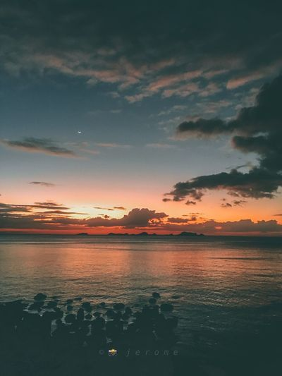 Sky Water Sunset Cloud - Sky Beauty In Nature Scenics - Nature Tranquil Scene Tranquility Dusk Dramatic Sky Sea Orange Color