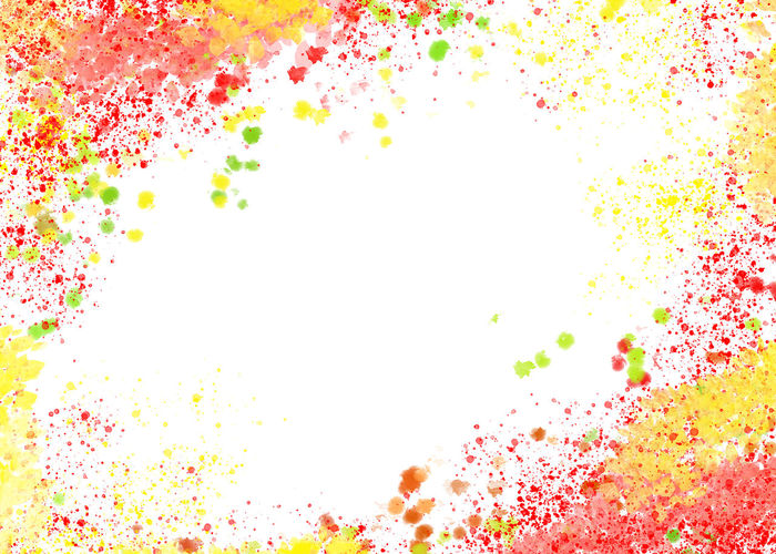 Abstract image of multi colored splashing water against white background