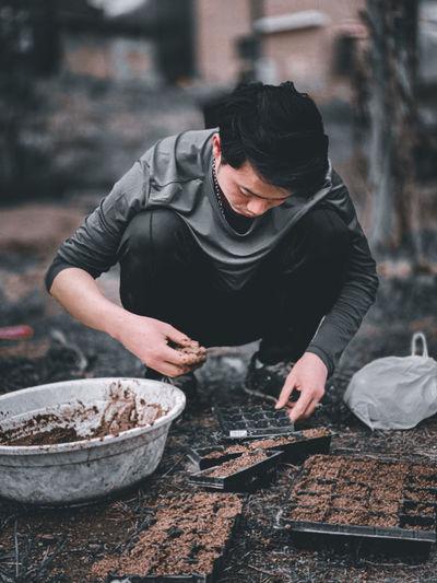 Man working in bowl