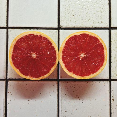 High Angle View Blood Orange On Floor