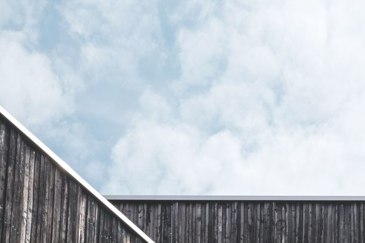 Architecture Blue Building Building Exterior Built Structure Cloud - Sky Copy Space Day Geometric Shape House Low Angle View Minimalism No People Outdoors Pattern Sky Sky And Clouds Wood - Material Wooden Texture Wooden Wall