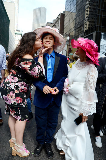 New York Fifth Avenue Easter Parade & Bonnet Festival, 2018 Open Edits The Portraitist - 2018 EyeEm Awards Adult Architecture Bonding Building Exterior Built Structure City Clothing Daughter Day Emotion Females Full Length Group Of People Leisure Activity Lifestyles Outdoors People Positive Emotion Real People Sister Standing Togetherness Women
