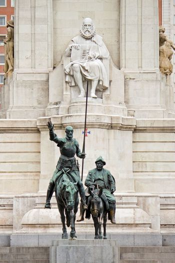 Sculptures Of Don Quixote And Sancho Panza In Plaza De Espana