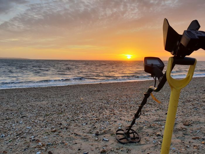 A glorious sunset whilst metal detecting Sunset Sea Sky Beach Water Land Scenics - Nature Horizon Over Water Photography Themes Orange Color Cloud - Sky Horizon Tranquility Technology Metal Detector Metal Detecting