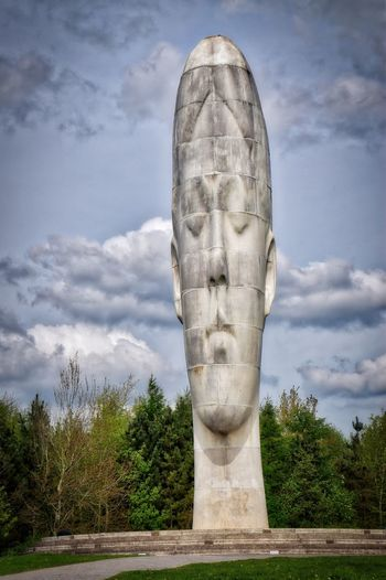 The big head thing HDR Collection HDR The Dream Old Coal Mine Sky Cloud - Sky Art And Craft Plant Tree Day No People Sculpture Nature Architecture Human Representation