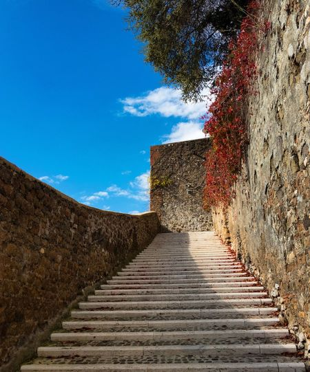 """Every second that goes by is a point of no return ~ J.R. Rim """"per tutti cari defunti perché trovino il volto misericordioso e godere il banchetto eterno!""""🙏🏻🌤🍀🍁👣⛰☕️ The Way Forward Steps Blue Built Structure Architecture Day Steps And Staircases Tree Stairs No People Clear Sky Outdoors Sky Staircase Nature Wall Walk Muro  Amare Italia"""