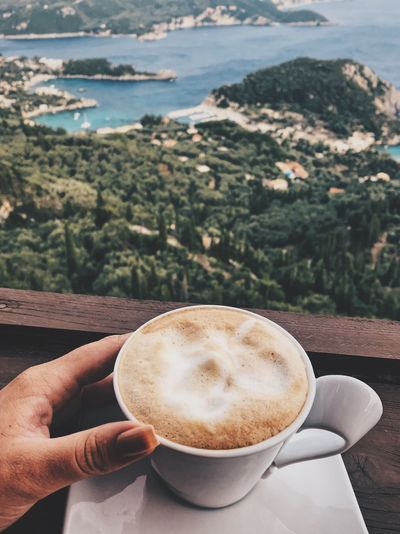 Greece Drink Coffee Food And Drink Refreshment Human Hand Coffee - Drink Hand Human Body Part Freshness One Person Cup Mug Mountain Coffee Cup Day Frothy Drink Lifestyles Personal Perspective High Angle View Holding