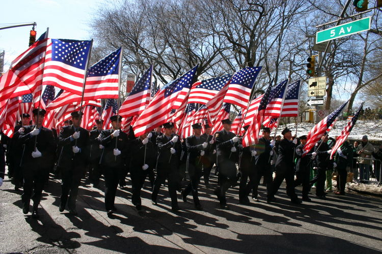 American Flag Celebration City Life Colorful Cultures Firemen Marching Flag Marching Multi Colored National Flag New York City Parade Patriotism Red Telling Stories Differently BestofEyeEm