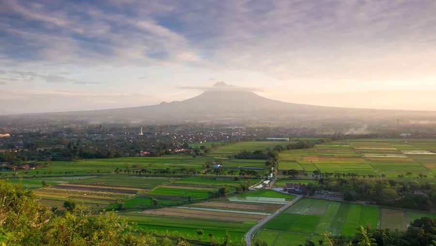 Jogjakarta Sky Scenics - Nature Environment Landscape Beauty In Nature Mountain Cloud - Sky Rural Scene Green Color No People Building Exterior Tranquility Built Structure Land Tranquil Scene Agriculture Field Nature Architecture Plant