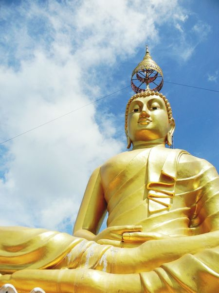 He's looking at you. Soaring Up Above Thailand Buddha Tiger Temple Cloudy Sky