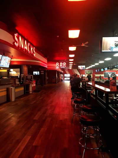 you can find me at the snack bar EyeEmNewHere Neon Bowling Illuminated Built Structure Night Architecture City Text Transportation Red Indoors