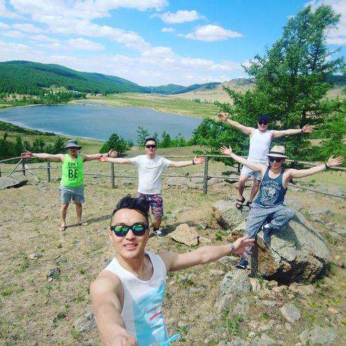 Friends Enjoying Trip Beautiful Nature Lake View