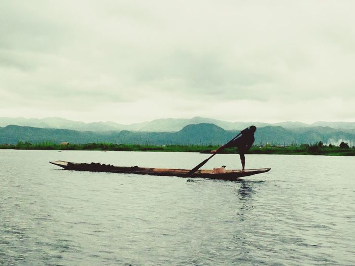 Myanmar Fishermen Inle Lake, Shan State, Myanmar Burma EyeEmNewHere Water Nautical Vessel Transportation Mountain Mode Of Transportation Sky Scenics - Nature
