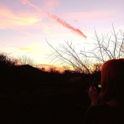 Beautiful Sky Evening English Countryside Watching Backshot Of Woman Human Hand Sunset Silhouette Sky Cloud - Sky