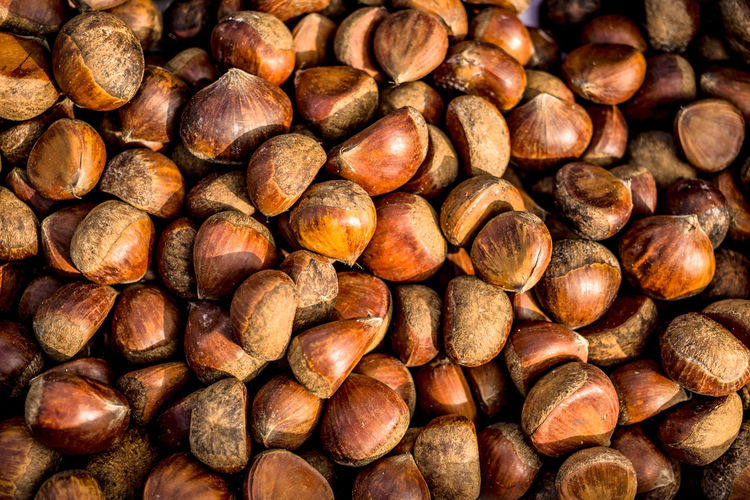Full Frame Shot Of Chestnuts For Sale At Market Stall