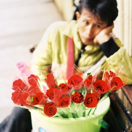 the flower by Nikon FM2 Flower Red