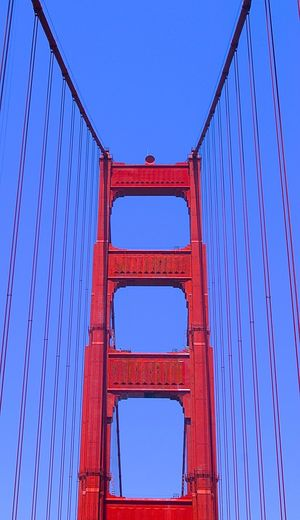 Architecture Centered Perspective Centered Built Structure Clear Sky Connection Day Engineering Golden Gate Bridge Low Angle View No People Outdoors Red Suspension Bridge Summer Summertime Background For Quotes Presentation Background Way Forward Background Photography Lines And Shapes Blue Sky Red Color Blue Color Symmetrical