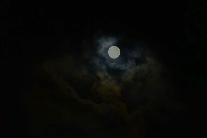 Moon Astronomy Nature Beauty In Nature Night Scenics Sky Tranquil Scene No People Low Angle View Tranquility Cloud - Sky Space Dark Space Exploration Half Moon Outdoors Crescent