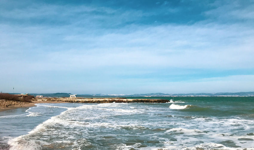 Panoramic View Of The Empty Beach And Waves. Pomorie, Bulgaria. Sea Beach Water Land Scenics - Nature Beauty In Nature Sky Cloud - Sky Motion Wave Horizon Nature Outdoors Seascape Sea And Sky Seaside Beachphotography Beach Photography Beach Life Photography Photography Themes