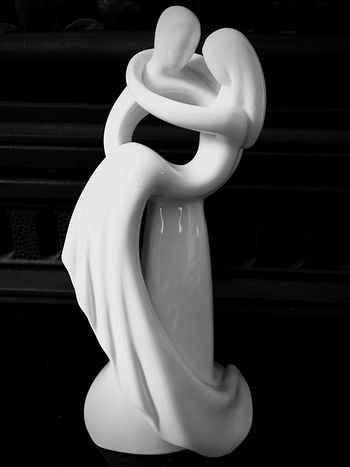 Human Representation Single Object Close-up Lovers In Arms Token White Blackandwhite Black Background Man Made Object