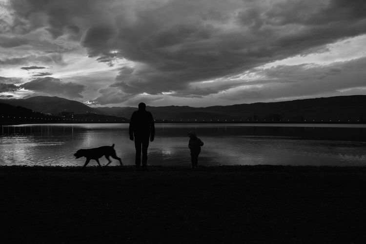 Silhouette people with dog standing on lake against sky