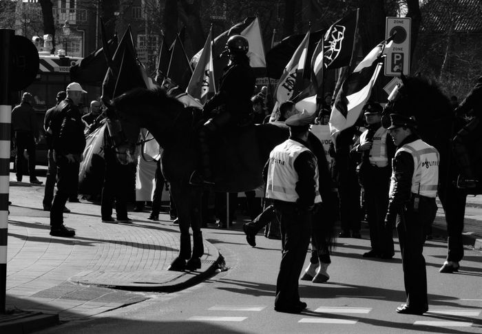 Bergen op Zoom [NL] - 'Freedom of speech, for everyone' Black And White Black & White Police Demonstration Dutch Riot Police Public Safety Dutch Police Horse Policehorse Police Horse People Streetphotography The Photojournalist - 2017 EyeEm Awards The Street Photographer - 2017 EyeEm Awards