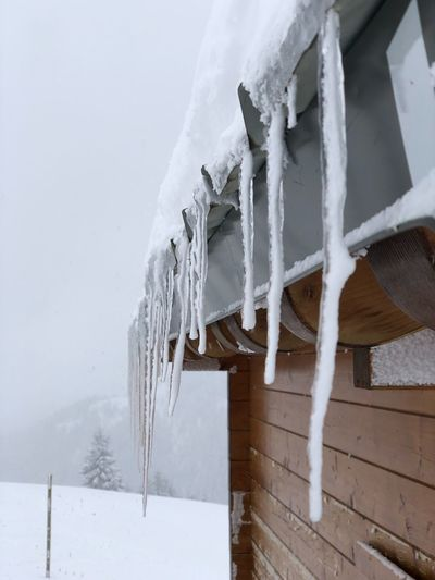Close-up of icicles against clear sky during winter