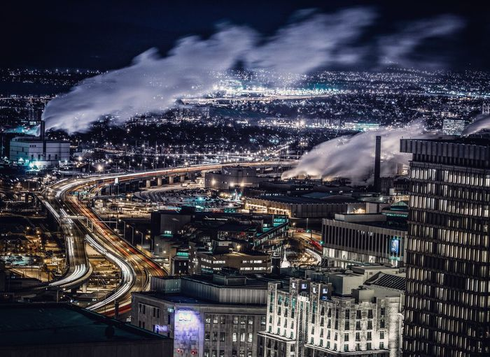 Pollution in my town City Architecture Cityscape Building Exterior Illuminated Transportation City Life Night High Angle View Modern Aerial View Traffic Built Structure Motion Speed Long Exposure Light Trail Sky Travel Destinations Development Pollution